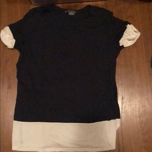 Vince navy and white two tone t shirt